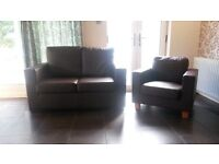Dark brown leather effect suite 2 seater sofa and armchair
