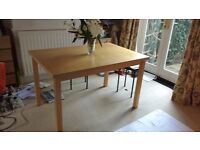 Ikea dining table, beech effect, 120 x 80cm, good condition