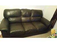 Brown Leather 2 and 3 seat sofa for sale from non-smoking household £120