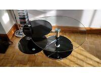 3 tier glass swivel coffee table