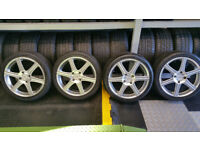 Racing 17 alloy wheels + 4 x tyres 215 45 17 Honda,Chevrolet,Fiat,Hyundai,Kia,Lexus,Mazda,and more.