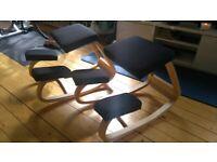 2x Kneeling Chairs Ergonomic Rocking Posture Home Office Study Wood Stool Seat Black