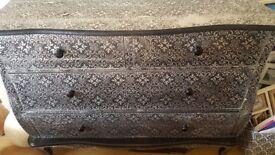 Blackened silver vintage chest 4 drawer