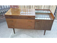 old shiny brown two toned dressing table or sideboard