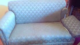 Victorian/Edwardian drop-arm sofa and 2 chairs.