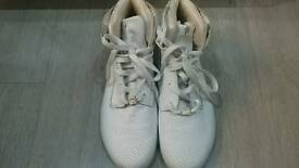 Mens white street dapper high trainers leather size 11