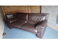 Brown 3 seater leather sofa