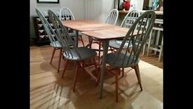 Vintage Retro 60's Ercol drop leaf plank table and 3 legged Extention Desk with 6 Windsor chairs.