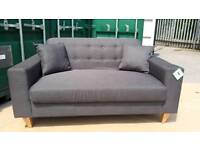 NEW Grey 2 Seater Button Back Modern Sofa DELIVERY AVAILABLE