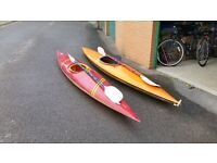 2 ADULT FIBREGLASS CANOES COMPLETE WITH PADDLES