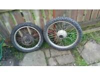 2 motorbike wheels