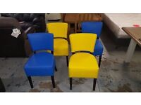 4 NEW MEMPHIS Faux Leather Dining Chairs, 2 YELLOW 2 BLUE CAN DELIVER