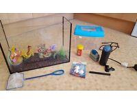 Small (15L) aquarium, fish tank and accessories
