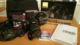 Nikon D5000 Digital SLR Camera with 18-55mm VR Lens Kit and Extras