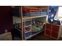 Blue metal bunk bed £40
