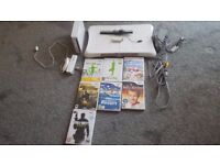 NINTENDO Wii Console White Bundle With Fit Board + Accessories And 7 Games