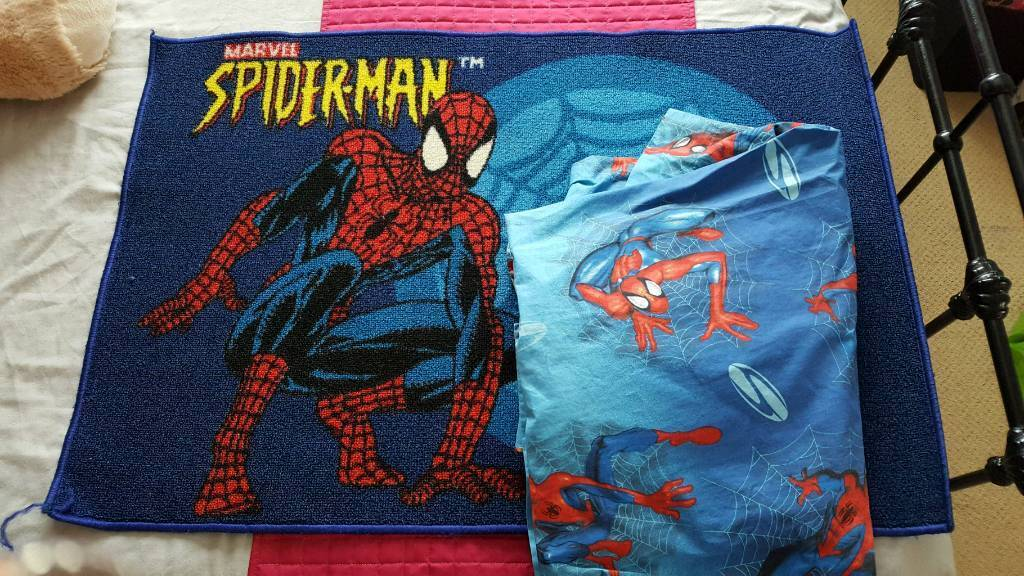 Spiderman rug and curtains