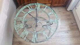 clock face coffee table, industrial vintage