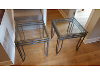 Glass Side Tables / Coffee Tables x 2 - contemporary design - very good condition
