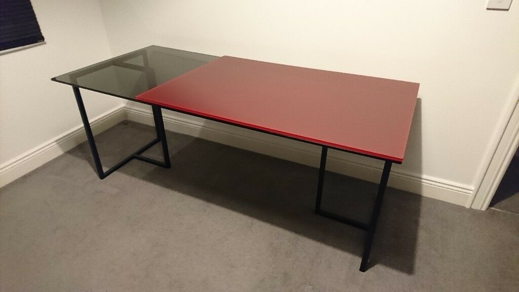 Habitat Desk With Trestle Legs Black Red Glass Top Table Study