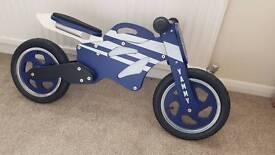 Motorbike style wooden balance bike
