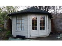 Large Summer house (14x9), beautiful wood interior, plumbed with electric shower, toilet and sink