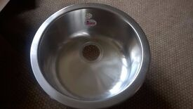 Kitchen sink, round, stainless steel