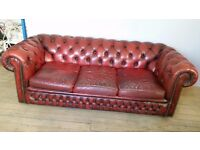 3 seater chesterfield oxblood sofa