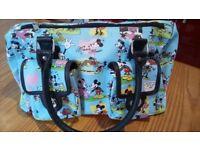 Disney Mickey Mouse Cartoon Handbag Purse Blue Pockets