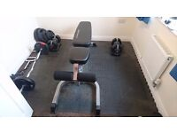 Incline / decline weights bench, adjustable weight dumbells, gym set