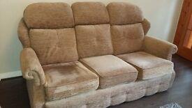Excellent condition beige fabric 3 piece suite for sale. £60 ono.