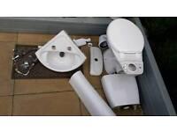 Corner sink, toilet pan and cistern