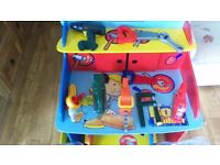 Bob the builder desk with stool & tools