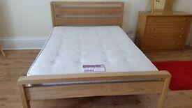 Bensons double bed , wooden frame and slats plus sleepmaster mattress Serene Medium/firm feel