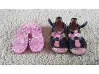 KIDS GIRLS SUMMER SHOES SANDALS KICKERS JELLY SHOES PINK BLUE REAL LEATHER SIZE 23 6