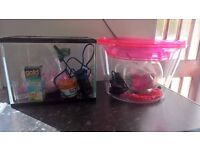 2 fish tanks and accessories bundle
