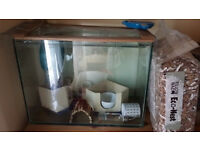 Gerbilarium / Hamster Cage with equipment furnishing bedding and food