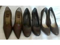 Ladies brown leather shoes, size 5