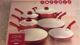 Ceramic Red 6 Piece Saucepan Set