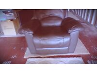 Brown Leather Recliner Armchair