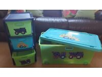 Little Digger Childrens Storage Toy Box on wheels and 3 Drawer Unit Bedroom Playroom