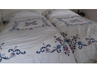 Bedspreads, quilted - 2 for single beds & valances + 3 pairs curtains 66x54