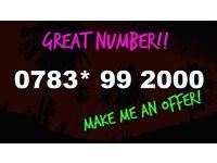 Platinum Gold Top Quality SIM Card - - 0783* 99 2000 - - Millennium 2k Mobile Number