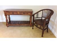 BEAUTIFUL SOLID DARK WOOD THAKAT CONSOLE TABLE (OFFICE DESK/DRESSING TABLE) & ARM CHAIR - furniture