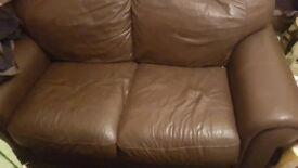 2 seater choc brown leather sofa