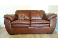 Brown Real Leather Sofa, 2 x 2-seater sofa set with 1 x footstool.