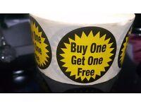Retail flashes bogof , special offer , buy 1 get 1 half price , £1.99 , butchers shop supermarket