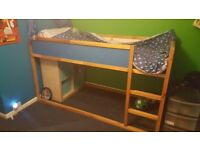 Childrens blue ikea mid sleeper bed