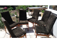 6 Brown Velvet & Wood 60s 70s High Back Dining Chairs Vintage Retro