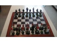 football themed collectable chess set and board